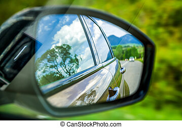 Reflection in wing mirror - Reflection of car in wing mirror