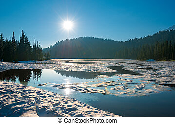 Reflection Lake at Mount Rainier National Park, Washington State, USA
