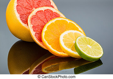 reflection of an orange. symbolic photo for healthy vitamins with fresh fruit
