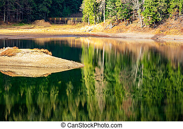 reflection of autumn forest in mountain lake
