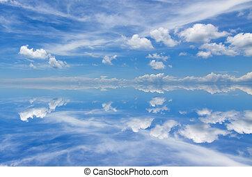 Reflection of beautiful blue sky