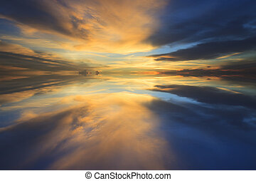 reflection of beautiful dusky sky in everning use for multipurpo