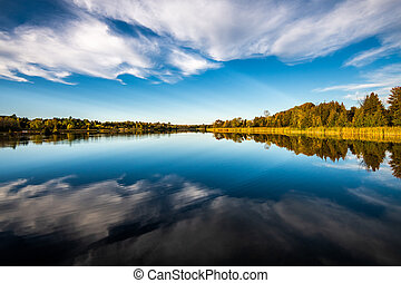 Reflection of blue sky and clouds on a river