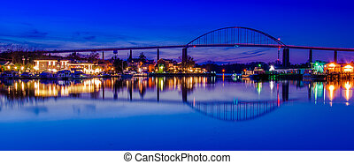 Reflection of Chesapeake City in the Chesapeake and Delaware...