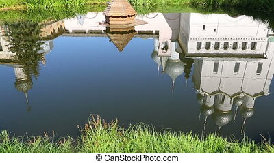 Reflection of Church of the Resurrection in Rostov Kremlin. Rostov The Great is a tourist center of the Golden Ring of Russia.