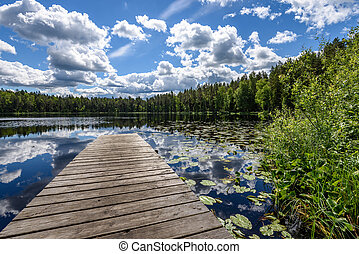 reflection of clouds in the lake with boardwalk