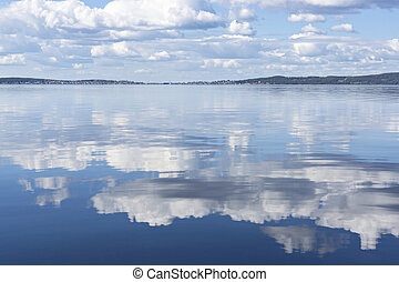 Reflection of clouds on lake water