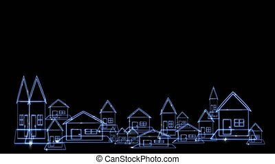 reflection of digital  architecture home village and clean energy move around building futuristic holographic modern technology on black screen