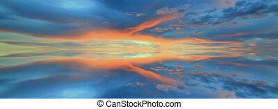 Reflection of dramatic sunset