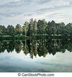 Reflection of forest on the lake in summer.