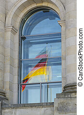 Reflection of German flag in Reichstag window