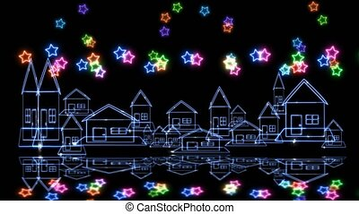 Reflection of glow village and rainbow colorful big and tiny...