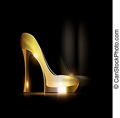 reflection of golden shoe - dark background and the ladys...