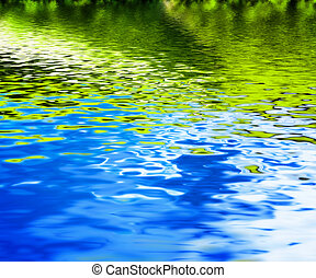 Reflection of green nature in clean water waves.
