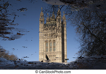Reflection of Houses of Parliament, Westminster; London