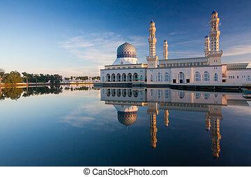 Reflection of Kota Kinabalu mosque at Sabah, Borneo,...