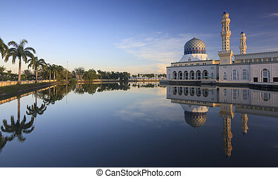 Reflection of Kota Kinabalu mosque - Reflection of Kota...