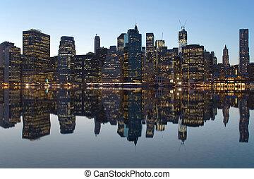 Reflection of Lower Manhattan - Lower Manhattan. Reflection...