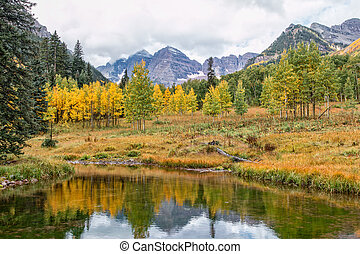 Reflection of Maroon Bells in Fall
