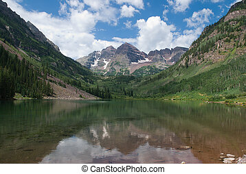 Maroon Lake - Reflection of Maroon Bells in Maroon Lake,...