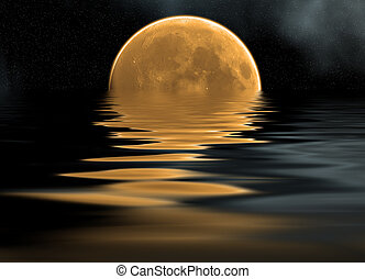 reflection of moon - reflection of detailed moon on the sea,...