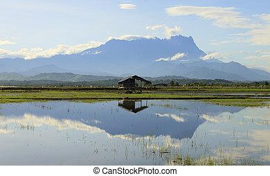 Reflection of Mount Kinabalu at Sabah, Borneo, Malaysia