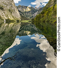 Reflection of mountains and sky in lake