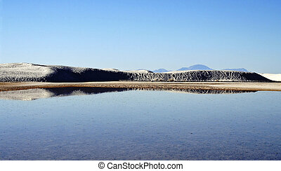 Reflection of mountains of sand in the water
