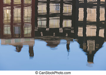 Reflection of old Amsterdam houses