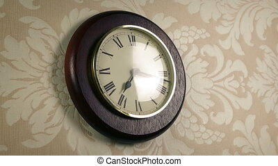 Reflection Of Person Passing Clock On Wall - Reflection of...