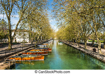 Reflection of Pont des Amours (Bridge of Love) in Annecy, France