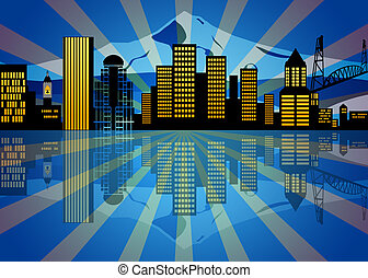 Reflection of Portland Oregon City Skyline at Night