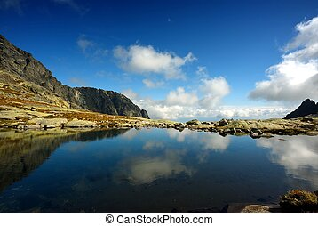reflection of sky in mountain lake