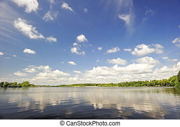 Reflection of sky in the lake water