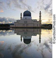 reflection of sunrise and mosque - Beautiful reflection of...
