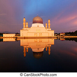 reflection of sunset and mosque - Beautiful reflection of...
