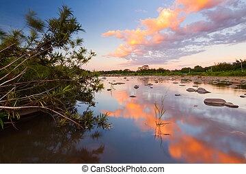Reflection of sunset on a river