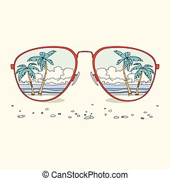 Reflection of the beach, palm trees, beach in sunglasses
