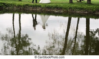 Reflection of the bride and groom in the water
