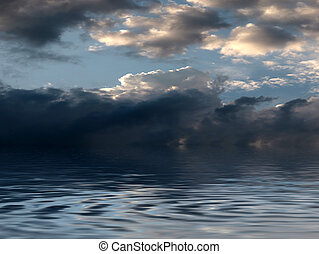 reflection of the cloudy sky
