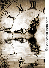 Reflection of Time - Conceptual image old antique looking...