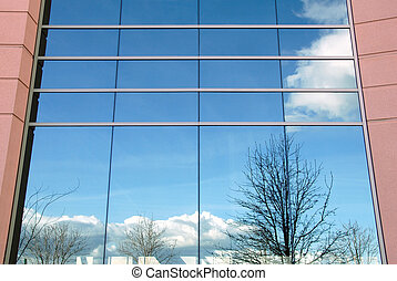Office Building Exterior - Reflection on Glass of Office...
