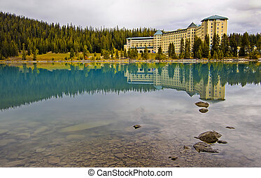 Lake Louise - Reflection over Lake Louise, Banff National...