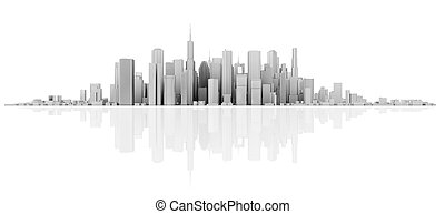 reflection skyline - 3d white skyline isolated on white with...