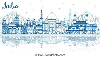 reflections., インド, 建物都市, スカイライン, アウトライン, 青