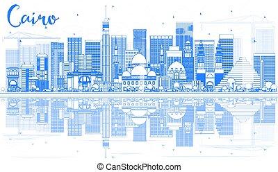 reflections., カイロ, 建物, スカイライン, アウトライン, 青
