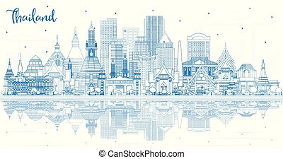 reflections., タイ, 建物都市, スカイライン, アウトライン, 青