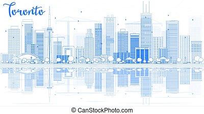 reflections., トロント, 建物, スカイライン, アウトライン, 青