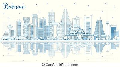 reflections., バーレーン, 建物都市, スカイライン, アウトライン, 青