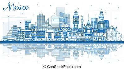 reflections., メキシコ\, 建物都市, スカイライン, アウトライン, 青